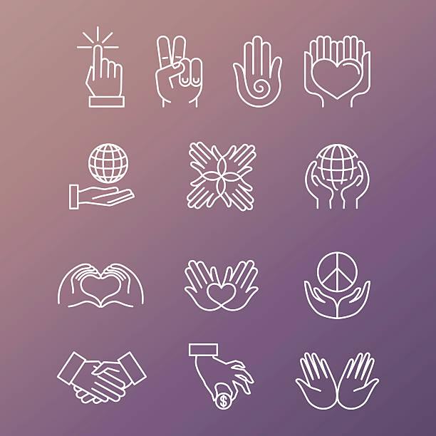 vektor-satz von linear hand symbole und gestik - entspannungsmethoden stock-grafiken, -clipart, -cartoons und -symbole