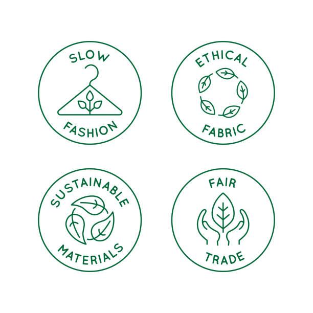 illustrations, cliparts, dessins animés et icônes de vecteur série d'icônes linéaires et badges associés à mode lent - tissu éthique, matériaux durables, commerce équitable - développement durable