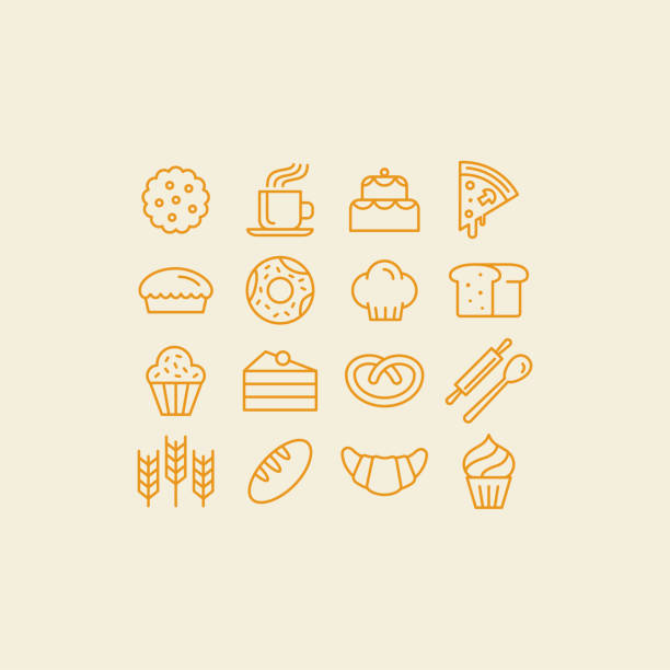 Vector set of linear icons and illustrations related to bakery Vector set of linear icons and illustrations related to bakery - collection of outline signs with sweet bread, cakes, pizza, croissant bread icons stock illustrations