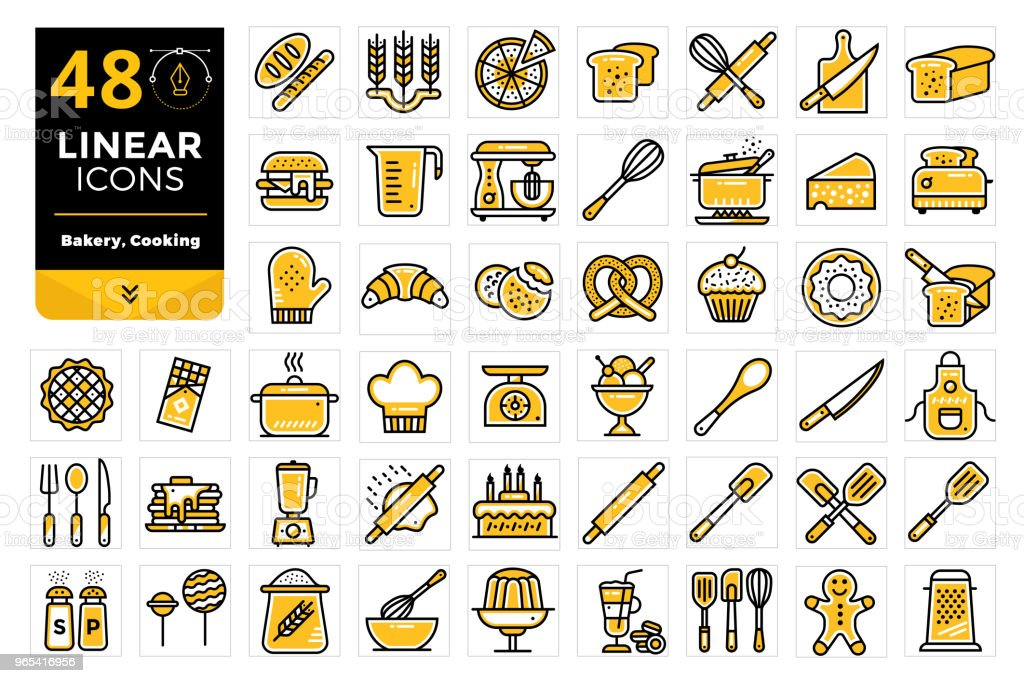 Vector set of linear icons, bakery and cooking. High quality modern icons for suitable for print, website and presentation vector set of linear icons bakery and cooking high quality modern icons for suitable for print website and presentation - stockowe grafiki wektorowe i więcej obrazów bez ludzi royalty-free