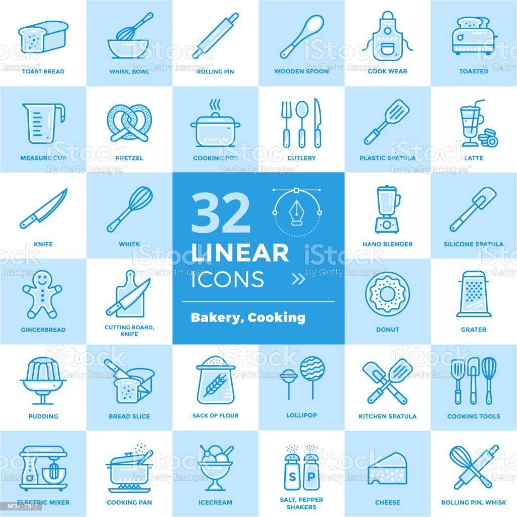 Vector set of linear icons, bakery and cooking. High quality modern icons for suitable for print, website and presentation royalty-free vector set of linear icons bakery and cooking high quality modern icons for suitable for print website and presentation stock vector art & more images of bakery
