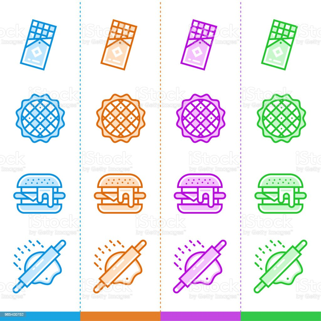 Vector set of linear icons, bakery and cooking in different color. Suitable for website, mobile apps and print royalty-free vector set of linear icons bakery and cooking in different color suitable for website mobile apps and print stock vector art & more images of apple pie