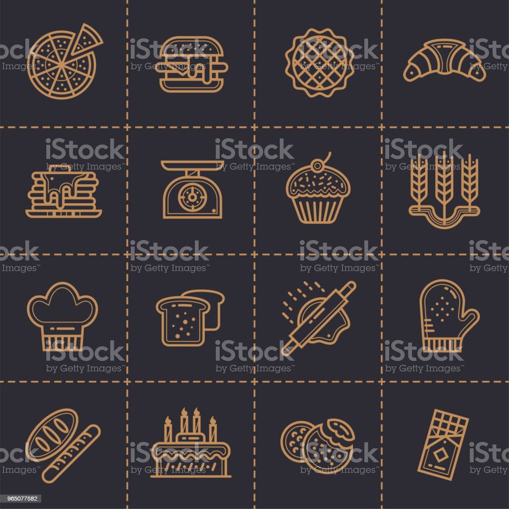 Vector set of linear icons, bakery and cooking. Modern outline icons for mobile application and web concepts vector set of linear icons bakery and cooking modern outline icons for mobile application and web concepts - stockowe grafiki wektorowe i więcej obrazów bez ludzi royalty-free