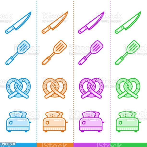 Vetores de Vector Conjunto De Ícones Lineares Padaria Cozinha Apropriado Para Site Aplicativos Móveis E Impressão e mais imagens de Café da manhã