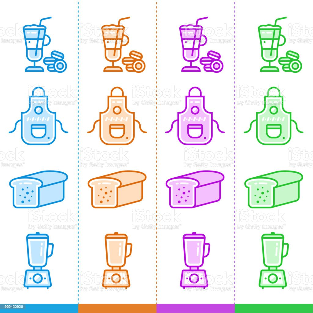 벡터 선형 아이콘 집합 베이커리, 요리. 웹사이트, 모바일 응용 프로그램 및 인쇄에 적합 - 로열티 프리 0명 벡터 아트