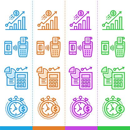Vector Set Of Linear Icons Finance Banking Suitable For Website Mobile Apps And Print - Stockowe grafiki wektorowe i więcej obrazów Bankowość