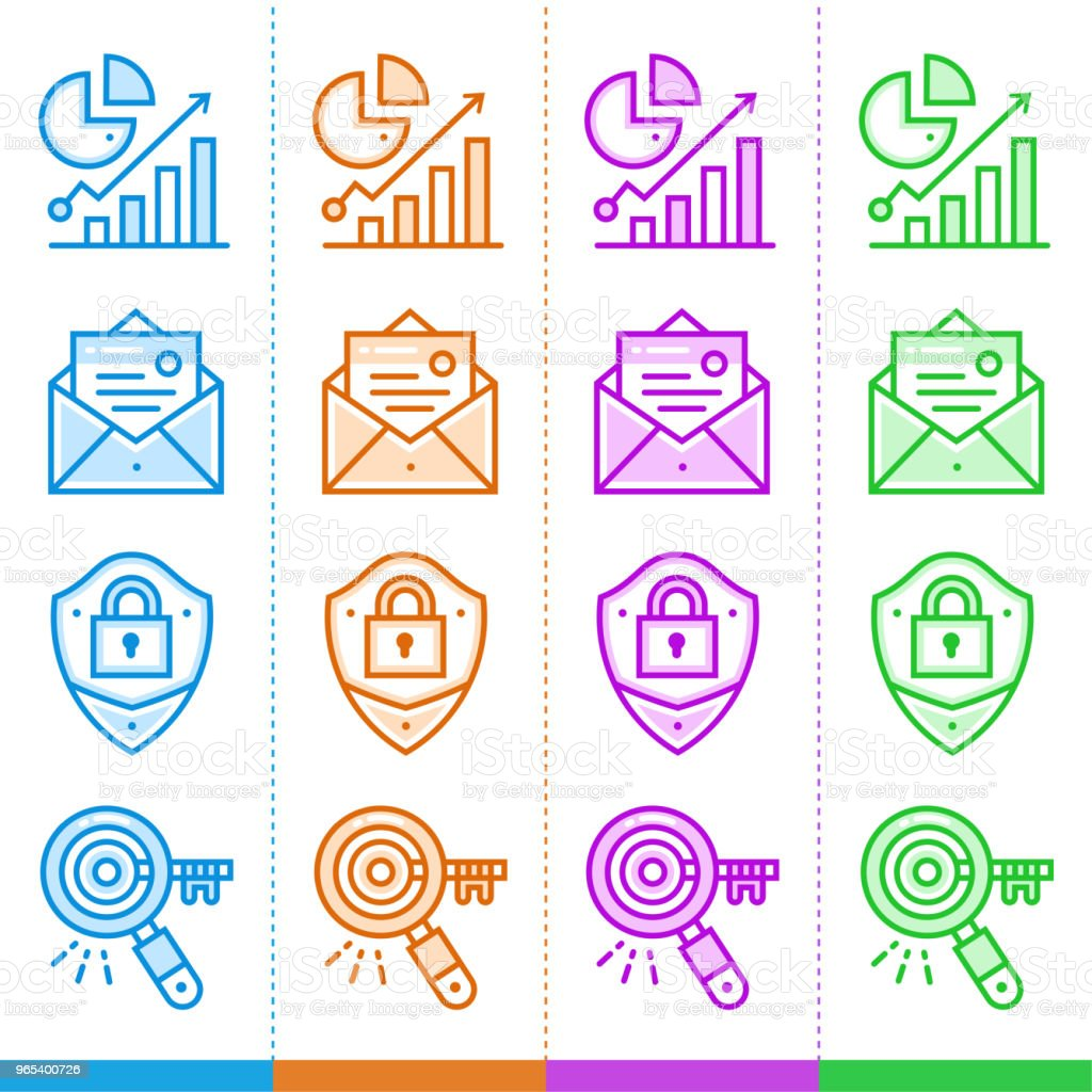Vector set of linear icons for new business in different color. Suitable for website, mobile apps and print vector set of linear icons for new business in different color suitable for website mobile apps and print - stockowe grafiki wektorowe i więcej obrazów bez ludzi royalty-free