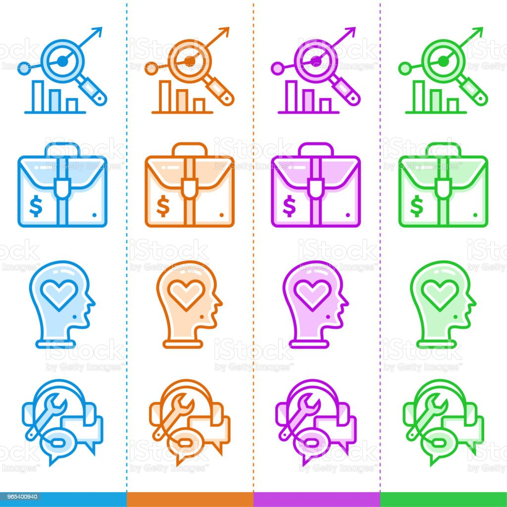 Vector set of linear icons for new business in different color. Suitable for website, mobile apps and print. vector set of linear icons for new business in different color suitable for website mobile apps and print - stockowe grafiki wektorowe i więcej obrazów biznes royalty-free