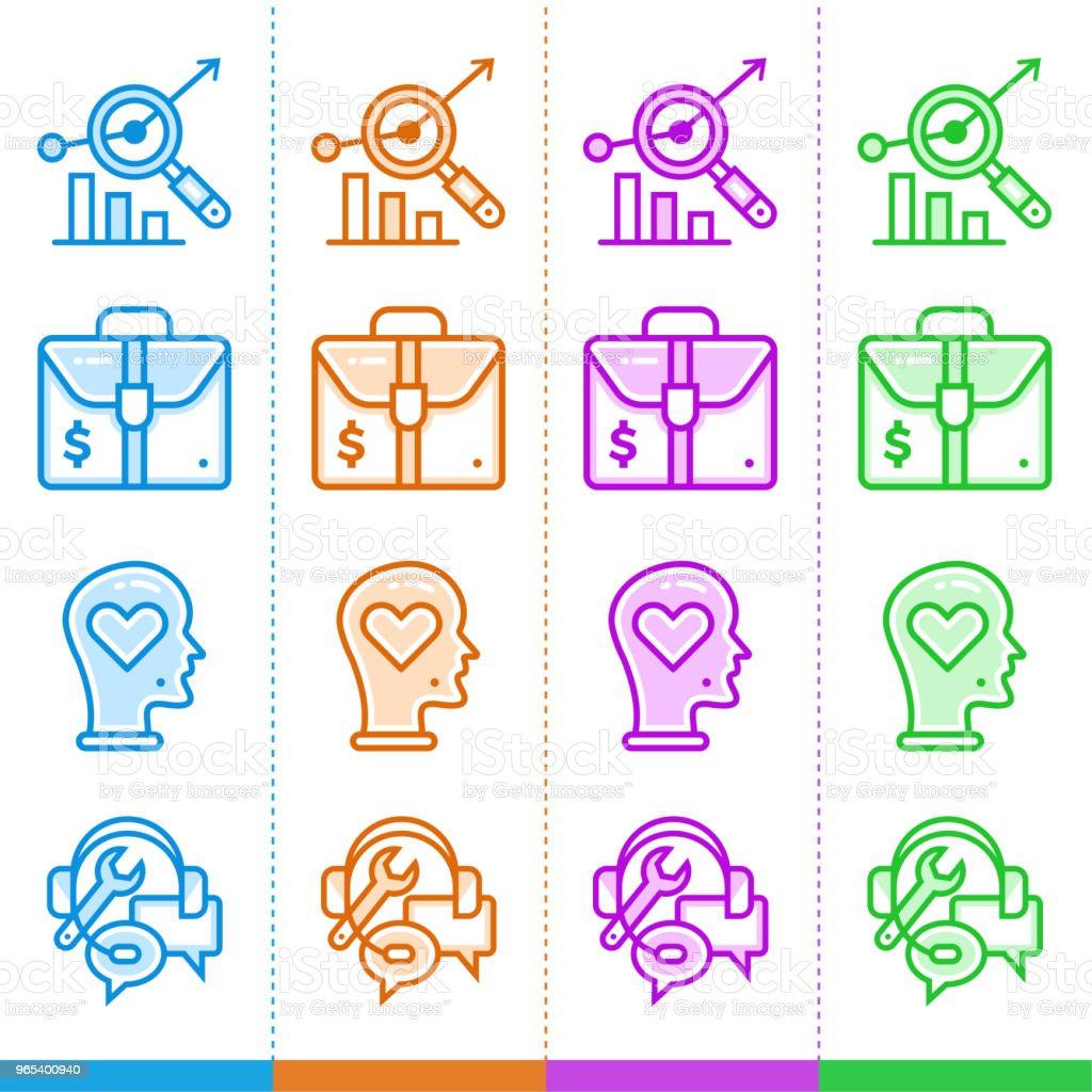 不同顏色的新業務的線性圖示的向量集。適合網站, 移動應用和列印。 - 免版稅商務圖庫向量圖形