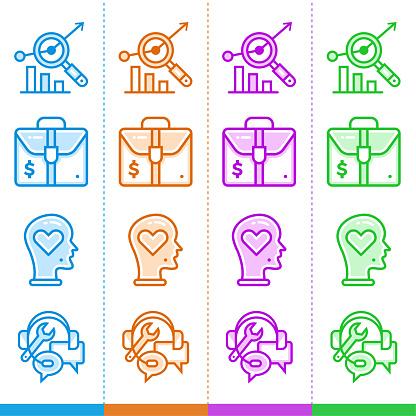 벡터 선형 아이콘 다른 색상으로 새로운 사업에 대 한 설정합니다 웹사이트 모바일 응용 프로그램 및 인쇄에 적합 합니다 디자인에 대한 스톡 벡터 아트 및 기타 이미지