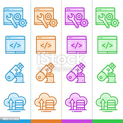 Vector Set Of Linear Icons For New Business In Different Color Suitable For Website Mobile Apps And Print Stock Vector Art & More Images of Business 965401000