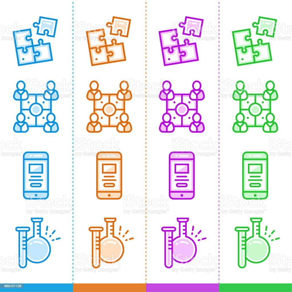 Vector set of linear icons for new business in different color. Suitable for website, mobile apps and print. royalty-free vector set of linear icons for new business in different color suitable for website mobile apps and print stock vector art & more images of business