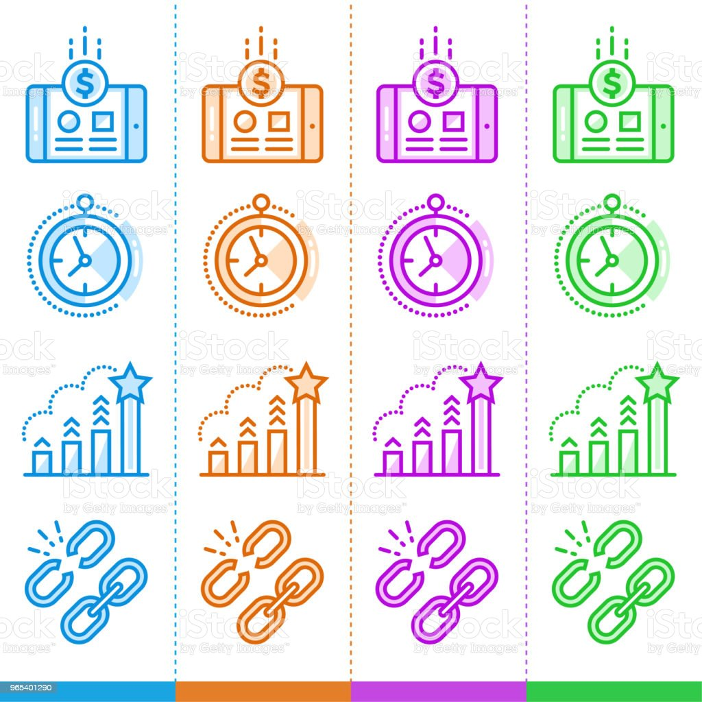 Vector set of linear icons for new business in different color. Suitable for website, mobile apps and print royalty-free vector set of linear icons for new business in different color suitable for website mobile apps and print stock vector art & more images of business