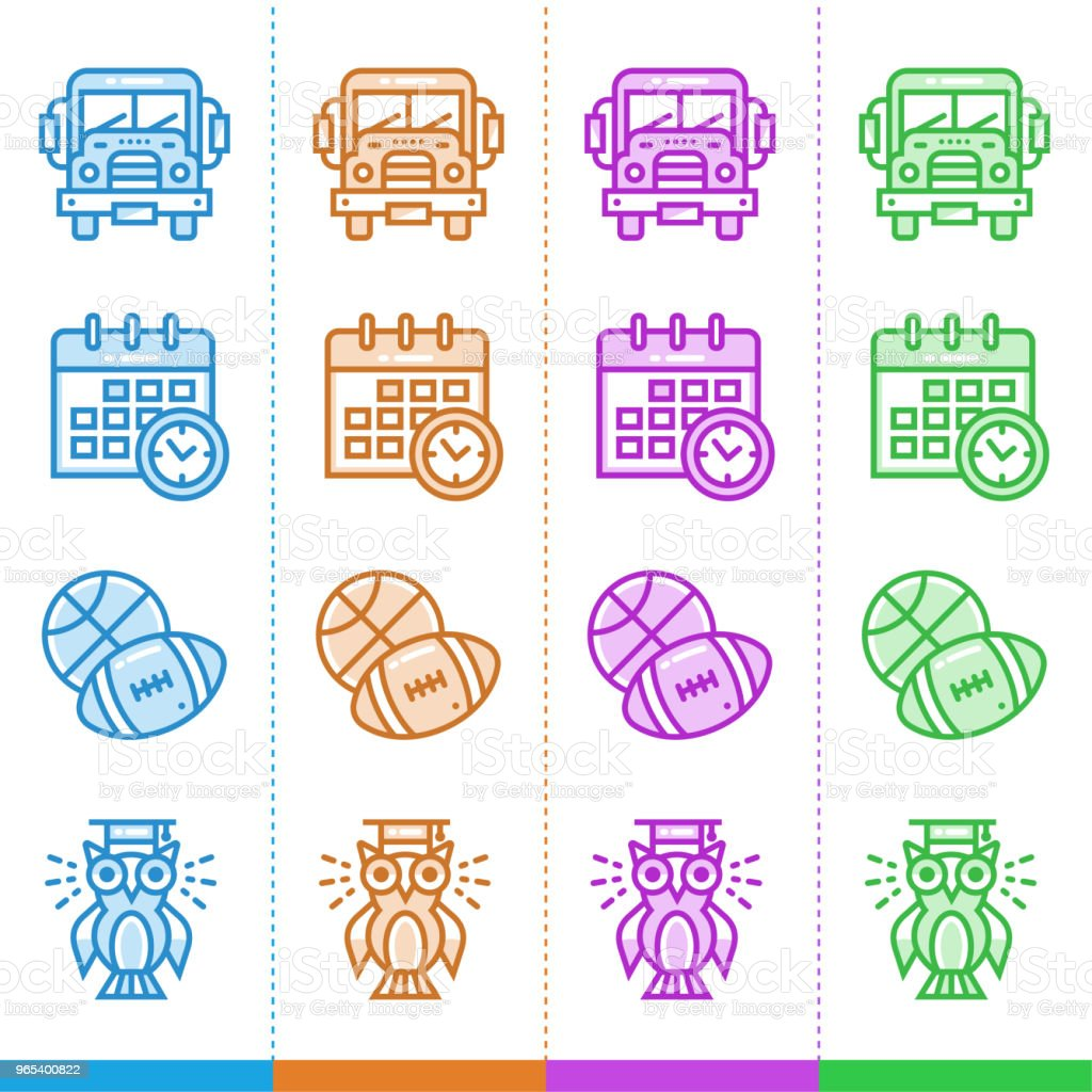 Vector set of linear icons for school and education in different color. Suitable for website, mobile apps and print royalty-free vector set of linear icons for school and education in different color suitable for website mobile apps and print stock vector art & more images of calendar