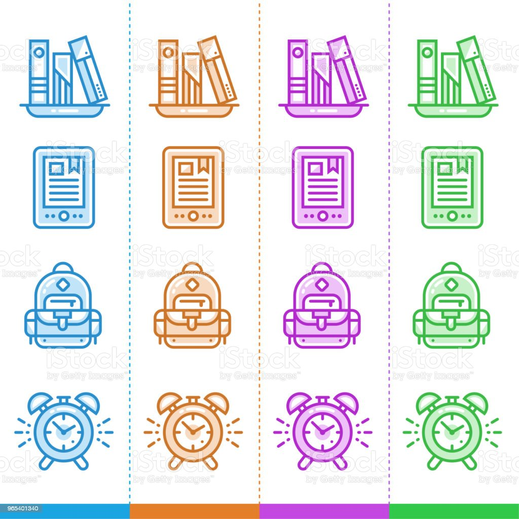Vector set of linear icons for school and education in different color. Suitable for website, mobile apps and print vector set of linear icons for school and education in different color suitable for website mobile apps and print - stockowe grafiki wektorowe i więcej obrazów budzik royalty-free