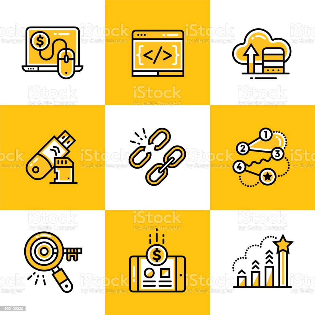 Vector set of linear icons for startup business. High quality modern icons for suitable for info graphics, print media and interfaces royalty-free vector set of linear icons for startup business high quality modern icons for suitable for info graphics print media and interfaces stock vector art & more images of business