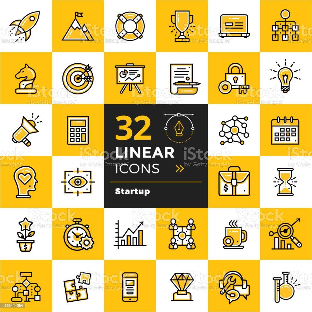 Vektor Satz von linearen Symbole für Startup-Unternehmen. Hochwertige moderne Icons für geeignet für Print, Website und Präsentation - Lizenzfrei Design Vektorgrafik