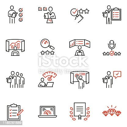 Vector set of linear icons related to analytics, data processing and conclusion. Auditor, analyst and expertise. Mono line pictograms and infographics design elements