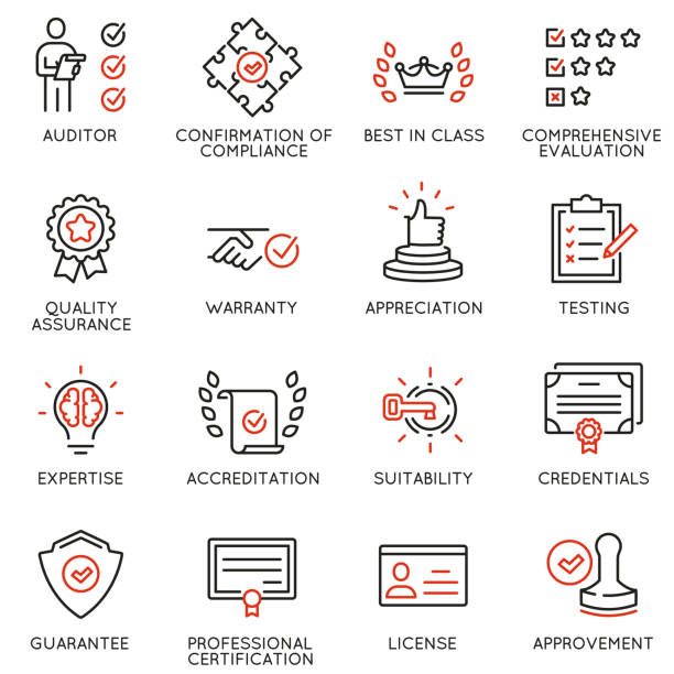 Vector set of linear icons related to approvement, accreditation, quality check and affirmation. Mono line pictograms and infographics design elements Vector set of linear icons related to approvement, accreditation, quality check and affirmation. Mono line pictograms and infographics design elements validation stock illustrations