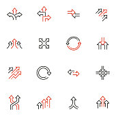 istock Vector Set of Linear Icons Related to arrow, direction, progress and path. Mono Line Pictograms and Infographics Design Elements 1265218479