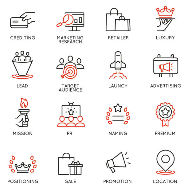 Vector set of linear icons related to business management process, advertising promotion and marketing. Mono line pictograms and infographics design elements Vector set of linear icons related to business management process, advertising promotion and marketing. Mono line pictograms and infographics design elements publicity event stock illustrations
