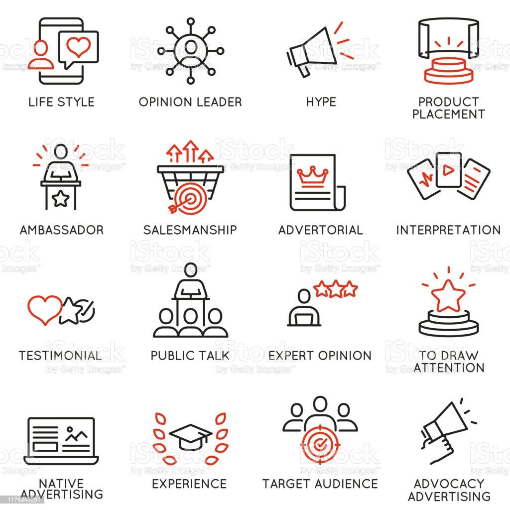 與業務管理流程、廣告推廣和行銷相關的線性圖示向量集。單線象形圖和資訊圖設計項目 - 11 - 免版稅勸說圖庫向量圖形
