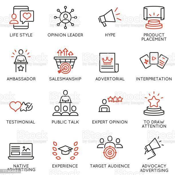 與業務管理流程廣告推廣和行銷相關的線性圖示向量集單線象形圖和資訊圖設計項目 11向量圖形及更多勸說圖片
