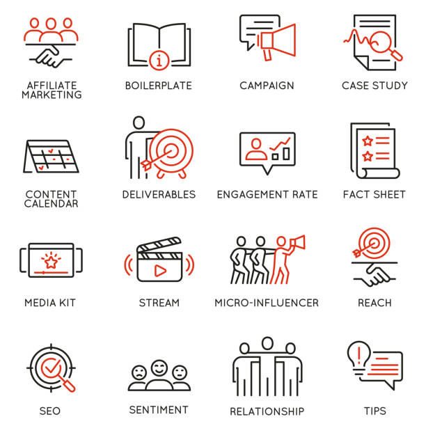 vector set of linear icons related to business management process, advertising promotion and marketing. mono line pictograms and infographics design elements - 12 - tablica reklamowa stock illustrations