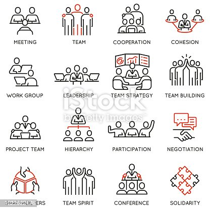 istock Vector set of linear icons related to business process, team work and human resource management. Mono line pictograms and infographics design elements - part 7 1222622176