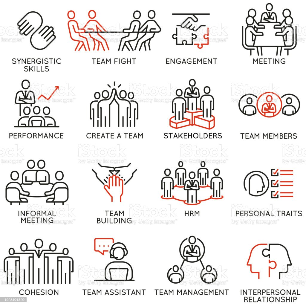 Vector set of linear icons related to business process, team work, human resource management and stakeholders. Mono line pictograms and infographics design elements - part 6 vector art illustration