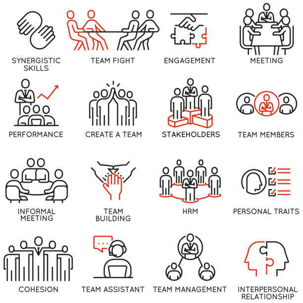 Vector set of linear icons related to business process, team work, human resource management and stakeholders. Mono line pictograms and infographics design elements - part 6 Vector set of linear icons related to business process, team work, human resource management and stakeholders. Mono line pictograms and infographics design elements - part 6 meeting stock illustrations