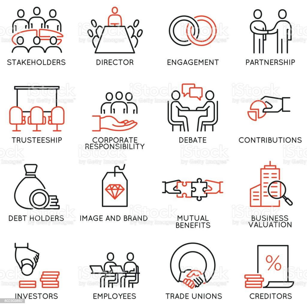 Vector set of linear icons related to business process, team work, human resource management and stakeholders. Mono line pictograms and infographics design elements - part 2 vector art illustration