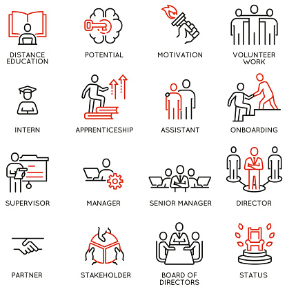 Vector Set of Linear Icons Related to Career Ladder, Empowerment Leadership Development, Promotion at Work and progress. Mono Line Pictograms and Infographics Design Elements