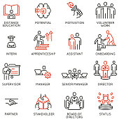istock Vector Set of Linear Icons Related to Career Ladder, Empowerment Leadership Development, Promotion at Work and progress. Mono Line Pictograms and Infographics Design Elements 1249983792
