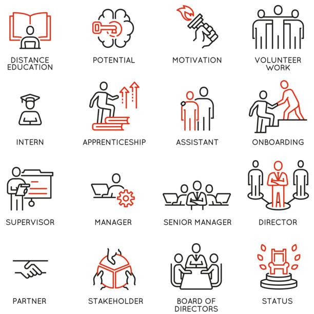 zestaw ikon liniowych wektorowych związanych z career ladder, inicjacją leadership development, promocją w pracy i postępami. mono-piktogramy i elementy projektowe infografiki - umiejętność stock illustrations