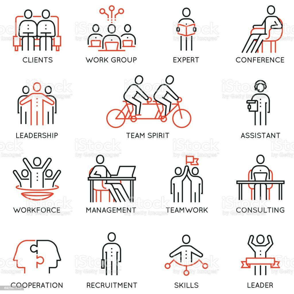 Vector set of linear icons related to collaboration, cooperation, team work and human resource management. Mono line pictograms and infographics design elements vector art illustration