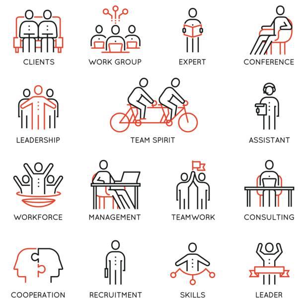 Ensemble de vecteurs de linéaires icônes liées à la collaboration, la coopération, le travail d'équipe et gestion des ressources humaines. Éléments de design de l'infographie et des pictogrammes de ligne mono - Illustration vectorielle