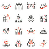 istock Vector set of linear icons related to Company Organization Structure, Human Resource Management and Succession. Mono line pictograms and infographics design elements 1179343497