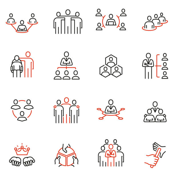 vector set of linear icons related to company organization structure, human resource management and succession. mono line pictograms and infographics design elements - koordynacja stock illustrations