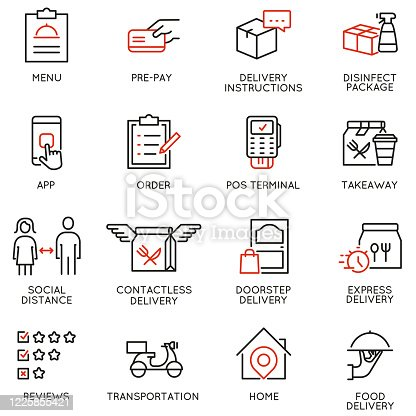 istock Vector Set of Linear Icons Related to Contactless Delivery Process. Mono line pictograms and infographics design elements 1225855421