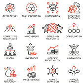 Vector Set of Linear Icons Related to Crisis Management and Consolidation. Mono line pictograms and infographics design elements