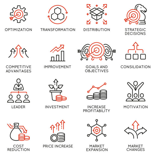 Vector Set of Linear Icons Related to Crisis Management and Consolidation. Mono line pictograms and infographics design elements Vector Set of Linear Icons Related to Crisis Management and Consolidation. Mono line pictograms and infographics design elements change stock illustrations