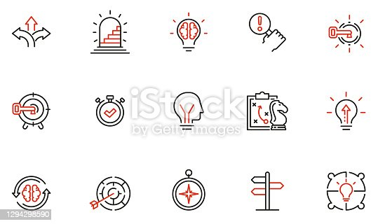 istock Vector Set of Linear Icons Related to Decision-Making Process, Problem Solving, Need to Choose. Mono Line Pictograms and Infographics Design Elements 1294298590