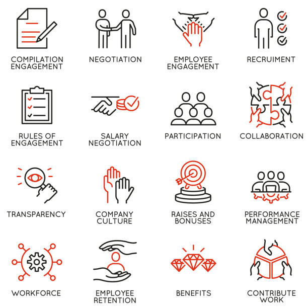 Vector set of linear icons related to engagement employee. Mono line pictograms and infographics design elements Vector set of linear icons related to engagement employee. Mono line pictograms and infographics design elements customs stock illustrations