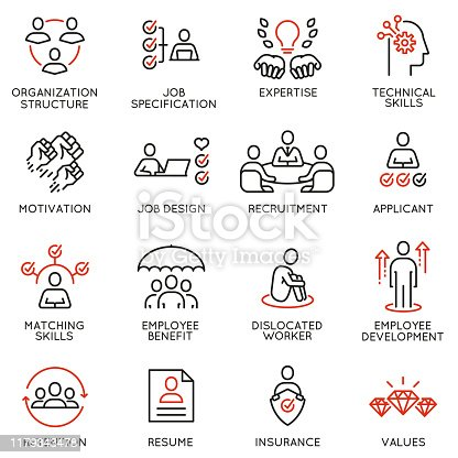 Vector set of linear icons related to engagement employee, employability skills, human resource management. Mono line pictograms and infographics design elements