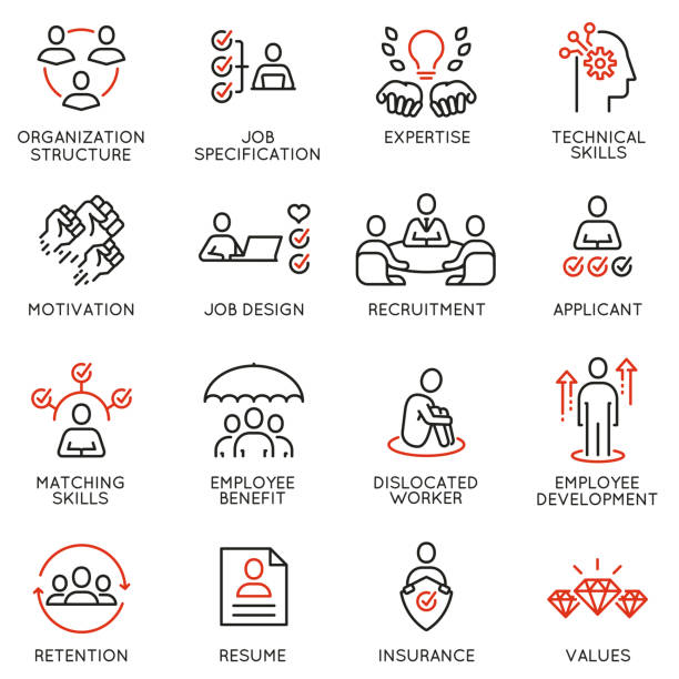 vector set of linear icons related to engagement employee, employability skills, human resource management. mono line pictograms and infographics design elements - unemployment stock illustrations