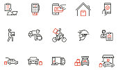 istock Vector Set of Linear Icons Related to Express Delivery Process, Delivery Home, Contactless and Order Curbside Pickup Online. Mono line pictograms and infographics design elements 1317478729