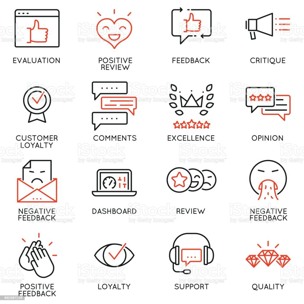 Vector Set Of Linear Icons Related to Feedback, Review and Customer Relationship Management. Mono Line Pictograms and Infographics Design Elements vector art illustration