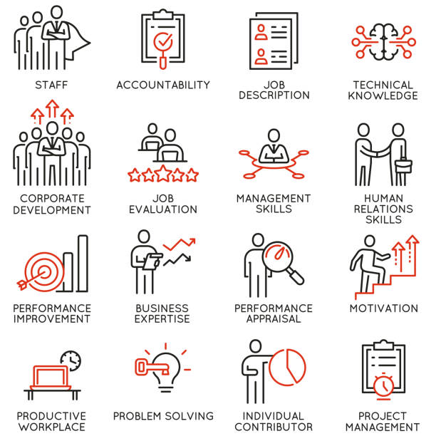 Vector set of linear icons related to human resource management. Mono line pictograms and infographics design elements - part 1 vector art illustration