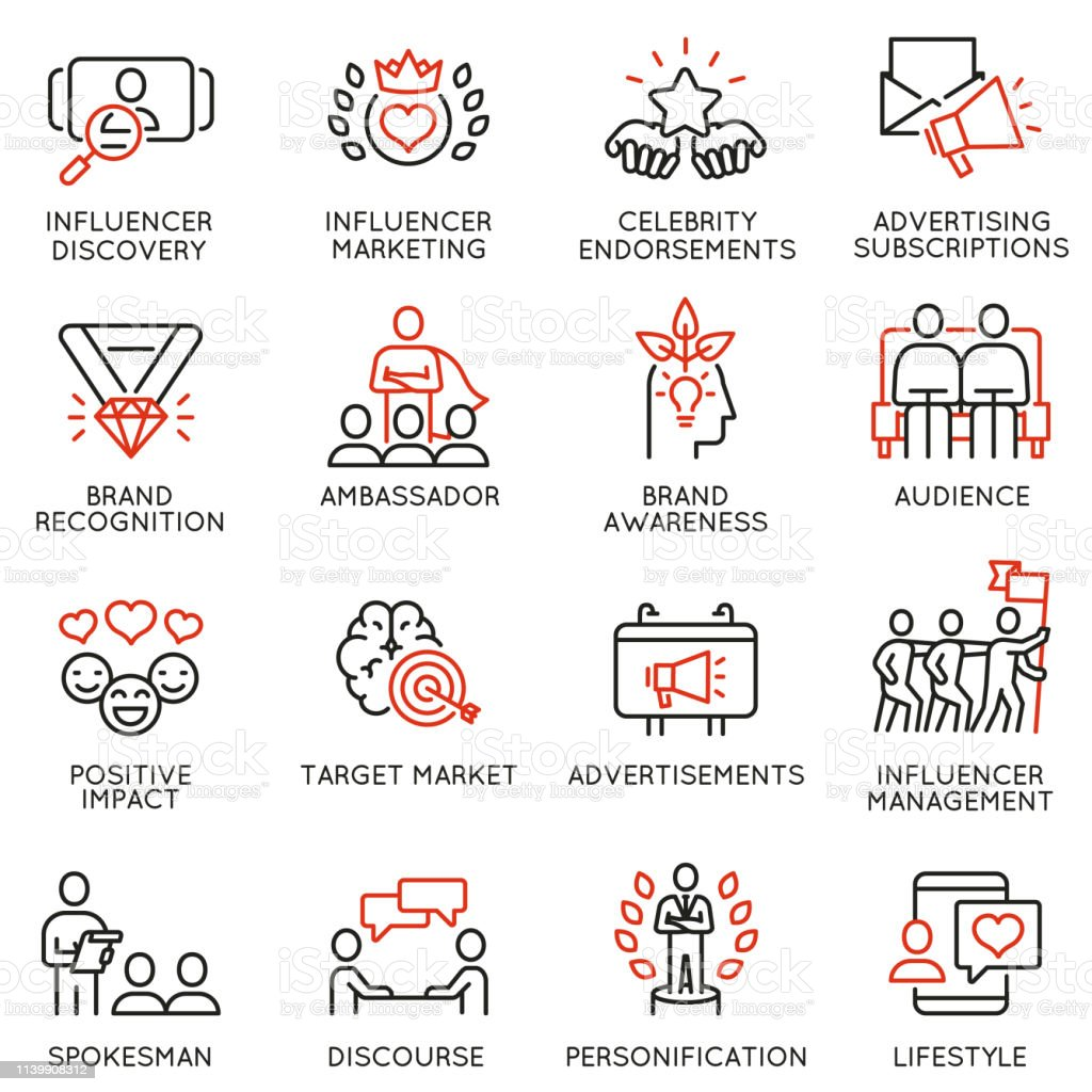 Vector set of linear icons related to influence marketing and social...
